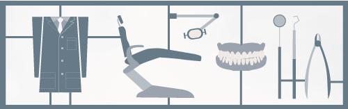 images of dental tools, chair, teeth, dentist's jacket