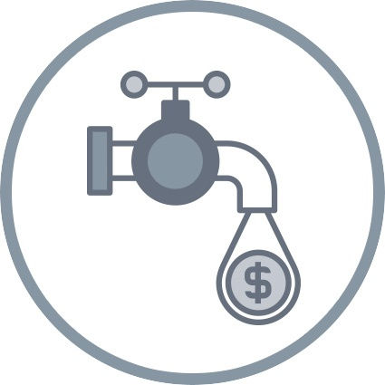 faucet icon dripping dollar sign